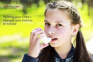 treating your child's allergies and asthma at school - Girl with Inhalor